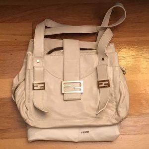 Authentic White Fendi Sheep Leather handbag